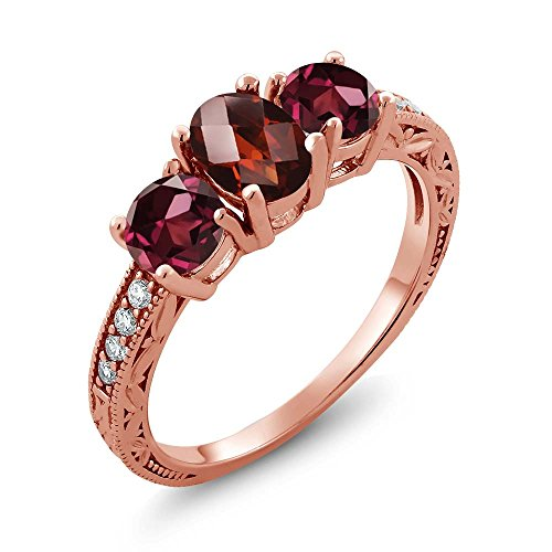 Gem Stone King 2.12 Ct Oval Checkerboard Red Garnet Red Rhodolite Garnet 18K Rose Gold Plated Silver Ring (Size 8)