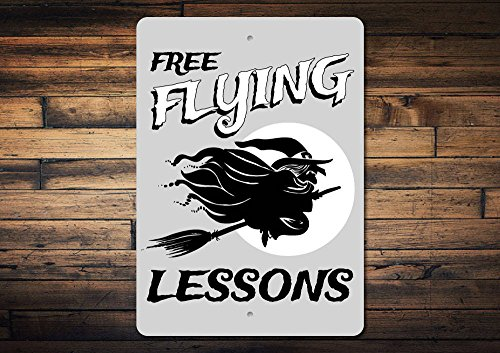 Dozili Flying Witch Sign Flying Lessons Sign Flying Broom Sign Flying Witch Decor Halloween Sign Halloween Decor Quality Metal 10