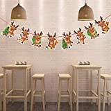 Pgojuni Christmas Paper Garlands String Hanging Flag Year Party Decoration (D)