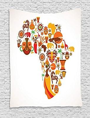 ABAKUHAUS Africano Tapiz de Pared, Mapa con Iconos Tribales, para ...