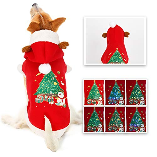 oneisall Dog Sweaters for Christmas, LED Light Up Puppy Clothes Hoodie Costume Shirts Holiday Festival Party Outfit for…