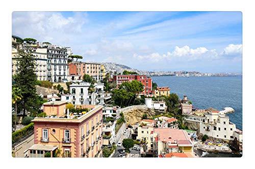 Tree26 Indoor Floor Rug/Mat (23.6 x 15.7 Inch) - Italy Naples Beach Water Sea Buildings Waterfront