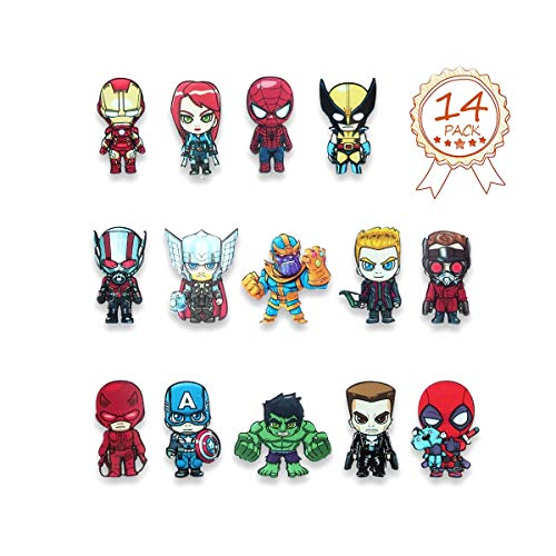 HXDZFX The Avengers Refrigerator Magnets-Marvel Heroes fridge magnets- Set of 14 Marvel Characters-Final battle Perfect Decorative Magnet ()