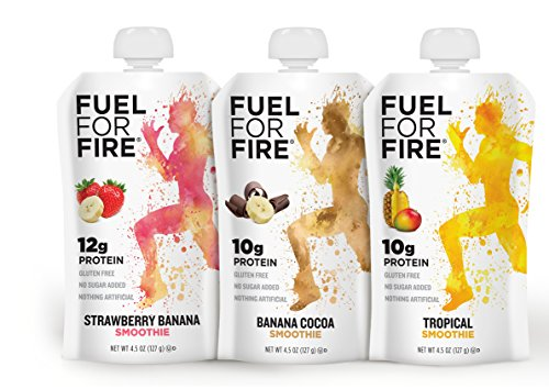 Fuel For Fire - fruit + whey protein smoothie snack - Sports Nutrition, 4.5 ounce (Variety - Best Sellers, 12-Pack)