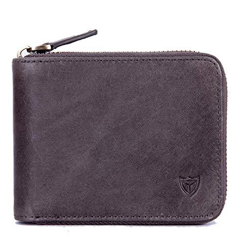 RFID Men's Leather Zipper wallet Zip Around Wallet Bifold Multi Card Holder Purse (Deep Gray)