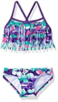 Kanu Surf Girls' Toddler Megan Floral Fringe Bikini Swimsuit, Purple, 2T