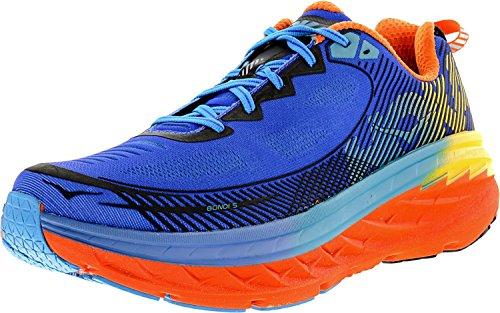 Chaussure De Course Haute Cheville Hoka One Mens Bondi 5 Bleu / Rouge Orange / Or Fusion