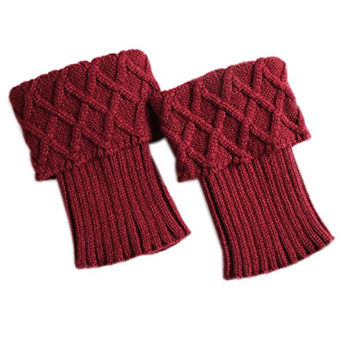 Review Bestjybt Womens Short Boots Socks Crochet Knitted Boot Cuffs Leg Warmers Socks (5 Pairs-Style A)