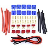 deans rc battery connectors - Glarks 20pcs Deans Style T-Plug / EC3 Female Male Adapter Connector Kit For RC LiPo Battery ESC Replacement Parts [Contains 14 Gauge Silicone Wire and Heat Shrink Tubing]