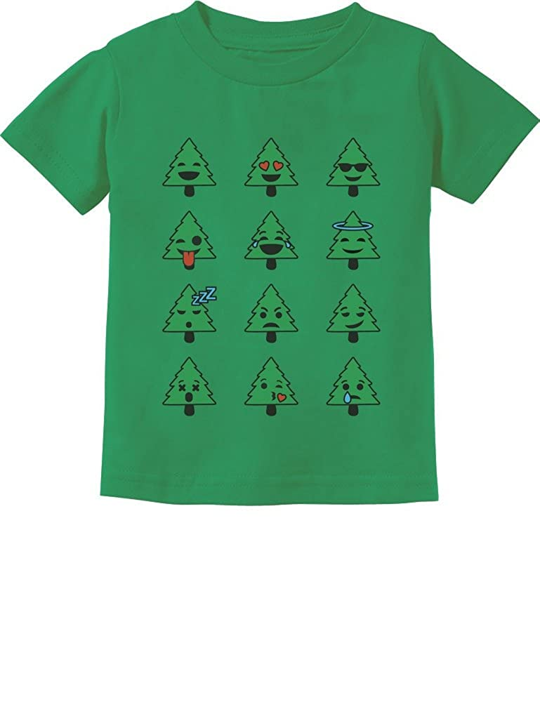 Emoji Christmas Tree Funny Faces Cute Xmas Toddler//Infant Kids T-Shirt