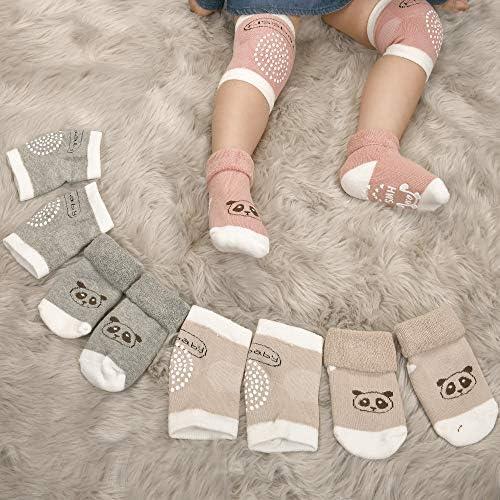 6 TOTAL PAIRS 3 Pairs Non Slip Socks// 3 Pairs Non Slip Knee Pads Toddler Baby Unisex STAYcozy Crawling Anti-Slip Knee Pads and Socks PREMIUM Terry Cotton Infant