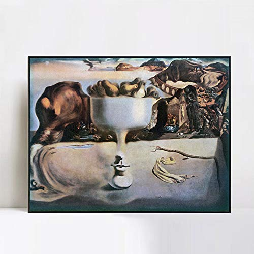 Salvador Dali Dish - INVIN ART Framed Canvas Giclee Print Art Apparition of a Face and Fruit Dish on a Beach,C.1938 by Salvador Dali Wall Art(Black Slim Frame,24