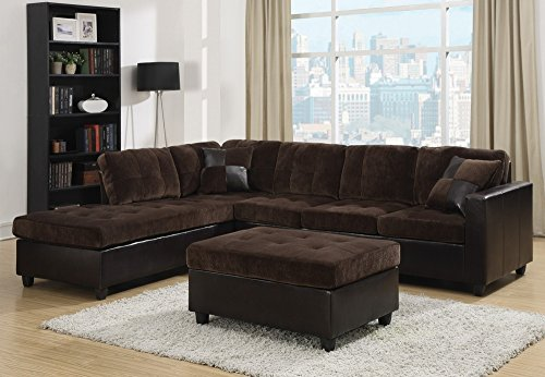Coaster Mallory Casual Sectional Sofa, Dark Chocolate