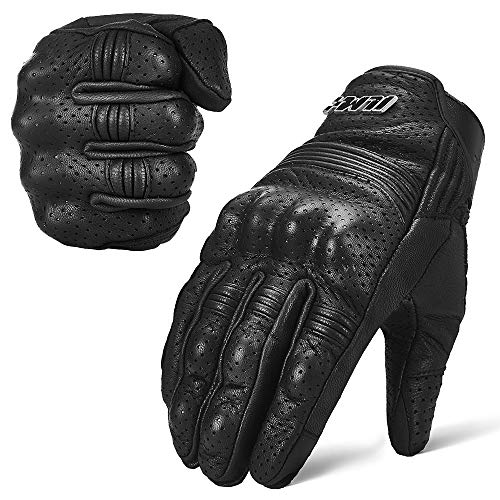 ILM Goatskin Leather Motorcycle Motorbike Powersports Racing Gloves Touchscreen For Men and Women Black (L, Black -