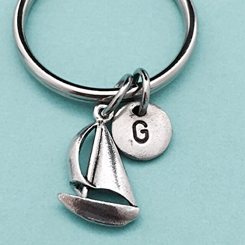 initial keychain sailboat charm customized keychain boat keychain initial charm monogram personalized keychain Sailboat keychain