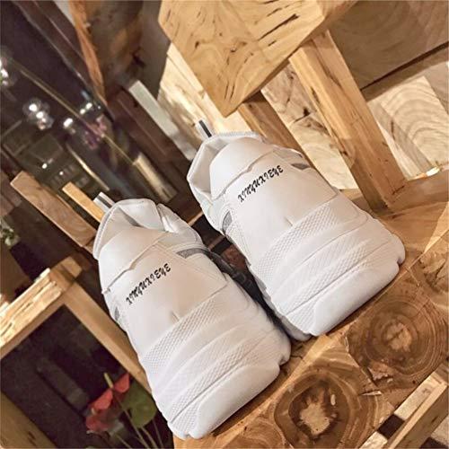 Bout Ladies À Femmes Couture Baskets Plateforme Pour Rond Talons Lettres Sauvage Slip Loisir on Chaussures Solide Décontractées Blanc Femme ARwSZqx0