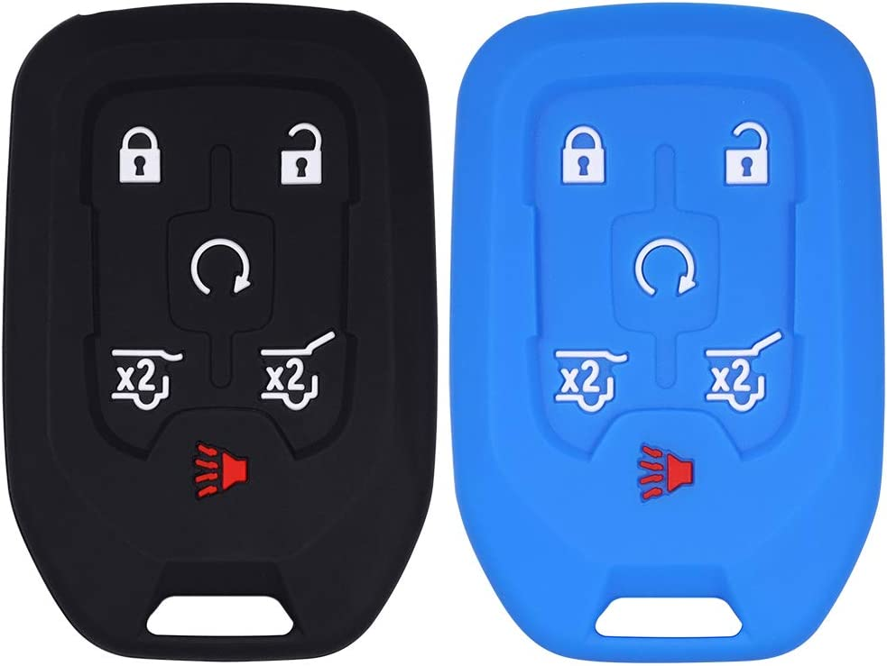 Lcyam Key fob Cover 6 Button Soft Silicone Case for 2018 2019 GMC YuKon Chevrolet Suburban Tahoe GMC Chevy Black Red