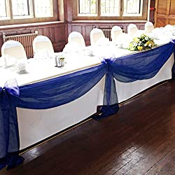 "Vlovelife Navy Blue 197""x53"" Sheer Organza Top Table Swag Fabric Table Runner Chair Sash Wedding Car Party Stair Bow Valance Decorations"