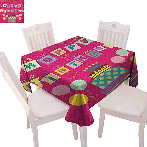 BlountDecor Kids Birthday Dinner Picnic Table Cloth Colorful Letters in Shape of Present Boxes Balloons Cake Graphic Waterproof Table Cover for Kitchen 70