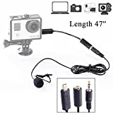 BOYA BY-LM20 47'' Lapel Clip-on Omnidirectional Lavalier Microphone for GoPro HERO 3 3+ 4 Black White & Silver Editions PC Computer Sony Canon Panasonic Camera Camcorder