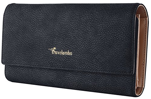 Card Black Faux Leather - Travelambo Womens Wallet Faux Leather RFID Blocking Purse Credit Card Clutch (Black 401)