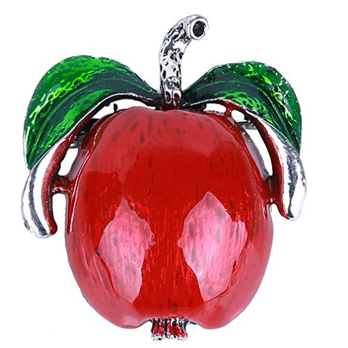 GloryMM Enamel Apple Brooches Fashion Fruit Brooch Pins Lapel Accessories Clothing Clip for Scarf Wedding Jewelry Women Gifts,Red