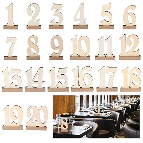 ROSENICE 20pcs 1-20 Wooden Wedding Table Number Holders (1 20 Tables)