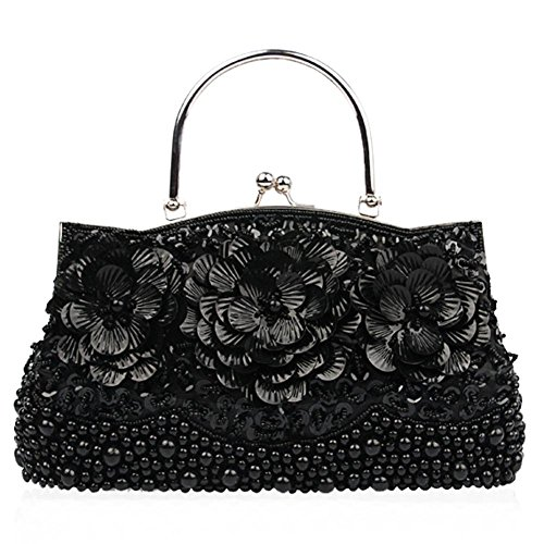 Women's Black Party Clutch Dinner 27 Bags sequins flower Bag beaded 22 Evening Purse Retro 5cm NVBAO X fqaw85w