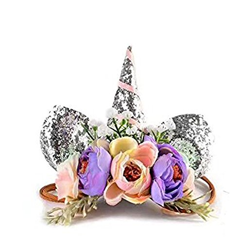 Unicorn Headband Paty Supplies silver Glitter Horn Headpiece Flower Crown Cat Ear Hair Accessories Dress Up Party Favors for Baby Women Kids Photo Props Outfit ()