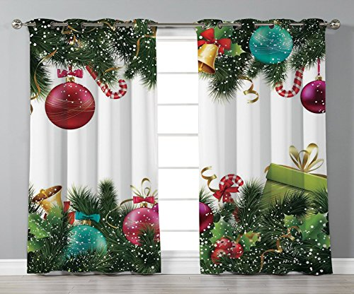 iPrint Satin Grommet Window Curtains,Christmas,Happy Year Greeting Decoration with Holly Garland Artful Design,Green Maroon,2 Panel Set Window Drapes,for Living Room Bedroom Kitchen Cafe