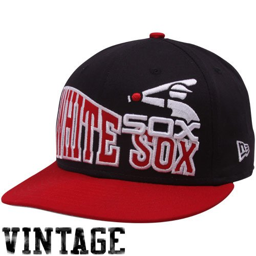(MLB New Era Chicago White Sox Black-Red Cooperstown Stoked Snapback Hat)