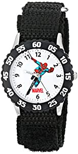 """Marvel Kids' W000106 """"Time Teacher"""" Stainless Steel Watch with Black Nylon Band"""