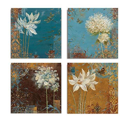 WEXFORD HOME Krishna's Garden Flower Spring Collection Canvas Print 4 Panels Set Décor for Home Office Wall Art 12X12 Frameless ()