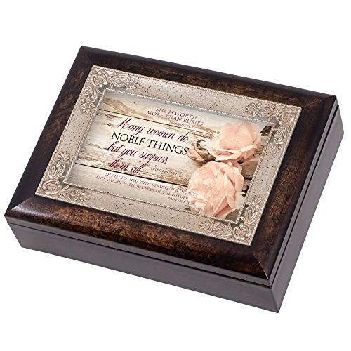 - Proverbs 31 Woman Distressed Italian Design Jewelry Music Box Plays Amazing Grace
