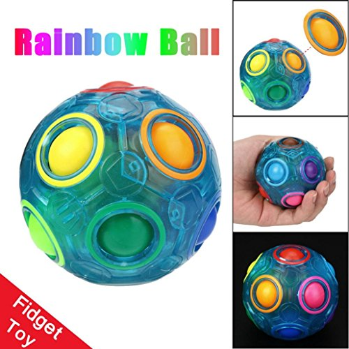 Magic Balls Toy (Spheric Ball Shaped Creative Magic Cube Puzzle Twist Toy Gifts,Gbell Plastic Stress Reliever Rainbow Magic Ball (Luminous #1))