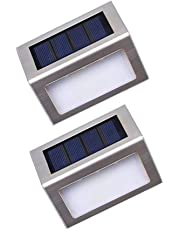 Solar Step Lights, Nateer LED Solar Lights, Solar Powered Lights with up to 9 Hours Work Time, Waterproof Stainless Steel Solar Garden Lights for Yard, Pathway, Garage