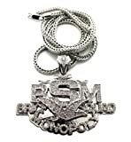 "New Iced Out 'BSM' BRICK SQUAD MONOPOLY Pendant &36"" Franco Chain Necklace MP830R"