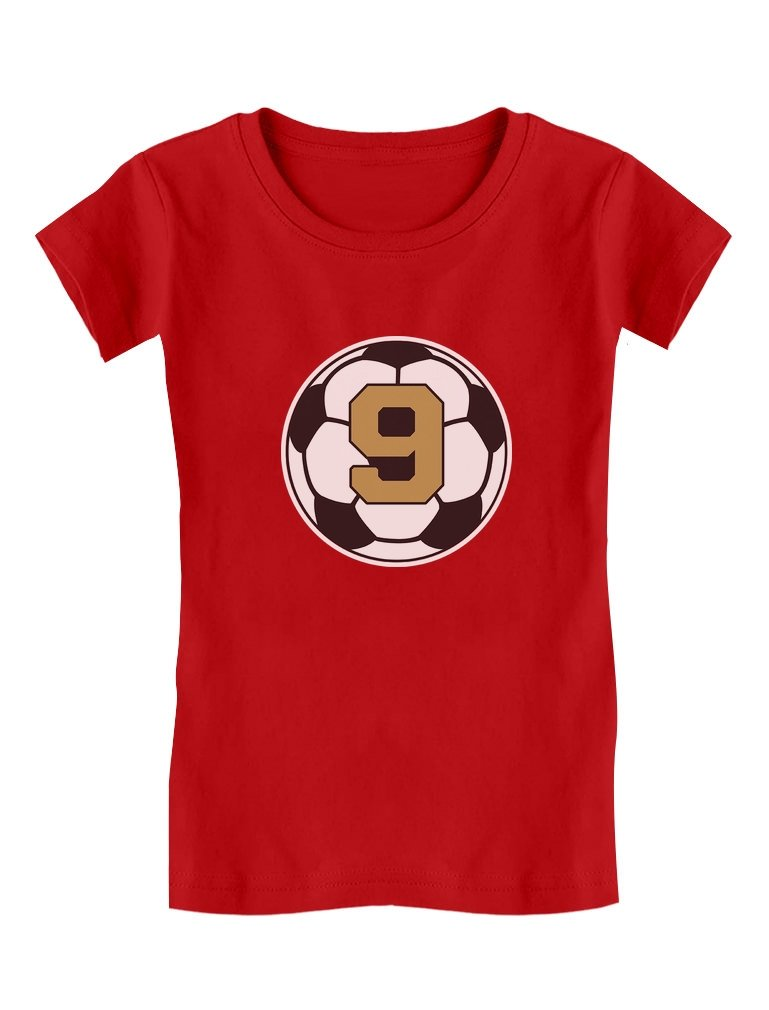 Tstars 9 Year Old Ninth Birthday Gift Soccer Girls' Fitted Kids T-Shirt L (10/12) Red