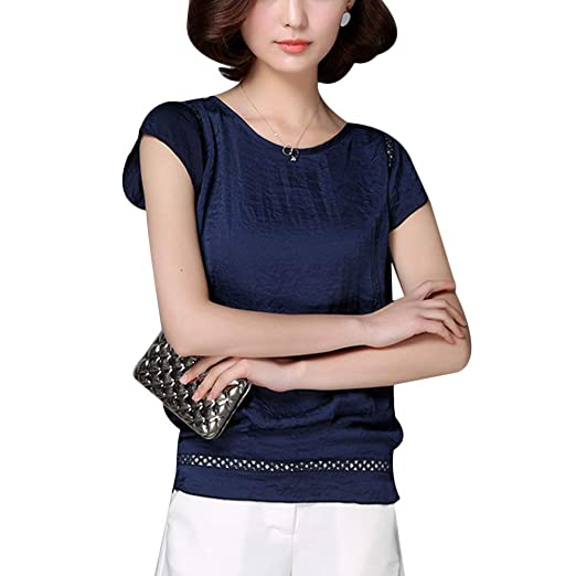f66c255e829c Topbeu Women Summer Casual Short Sleeve Loose Fit Shirts Blouses O ...
