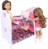 PZAS Toys Doll Bed for American Girl – Bunk Bed Furniture for 18″ Dolls. Complete Set with Linens, Pajamas, 2 Teddy Bears and More! For Sale