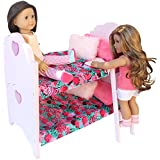 """PZAS Toys Doll Bed for American Girl - Bunk Bed Furniture For 18"""" Dolls. Complete Set with Linens, Pajamas, 2 Teddy Bears and More!"""
