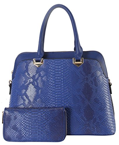 Rimen & Co. PU Leather Multi Spaced Snake Skin Pattern Structured Tote with Wallet 2 Picecs Set Womens Purse Handbag SW-3615 (Snake Skin Pattern)