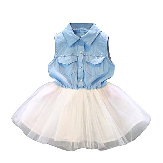 b7a5995e1df Amazon.com: Hatoys Tulle Tutu Sundress, Toddler Baby Kid Girl Party  Princess Denim Sleeveless Clothes Dresses (6/7T, Light Blue): Clothing