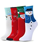 Ambielly Funny Socks Women Colorful Fancy Design Soft & Stretchy Novelty Socks (4 Xmas)
