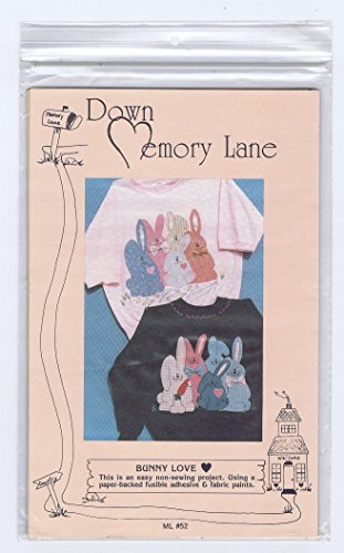 Down Memory Lane, Bunny Love, Appliqué Pattern for Adorable Bunnies, to Use for Fusible Clothing Embellishment, Easy Non-sewing Project # Ml52