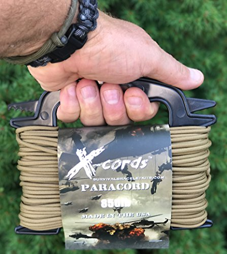 X-CORDS Paracord 850 Lb Stronger Than 550 and 750 Made by Us Government Certified Contractor (100' Coyote Brown ON Spool 850LB) by X-CORDS (Image #2)