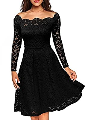 CZGBT Women's Vintage Floral Lace Long Sleeve Dress Business Cocktail