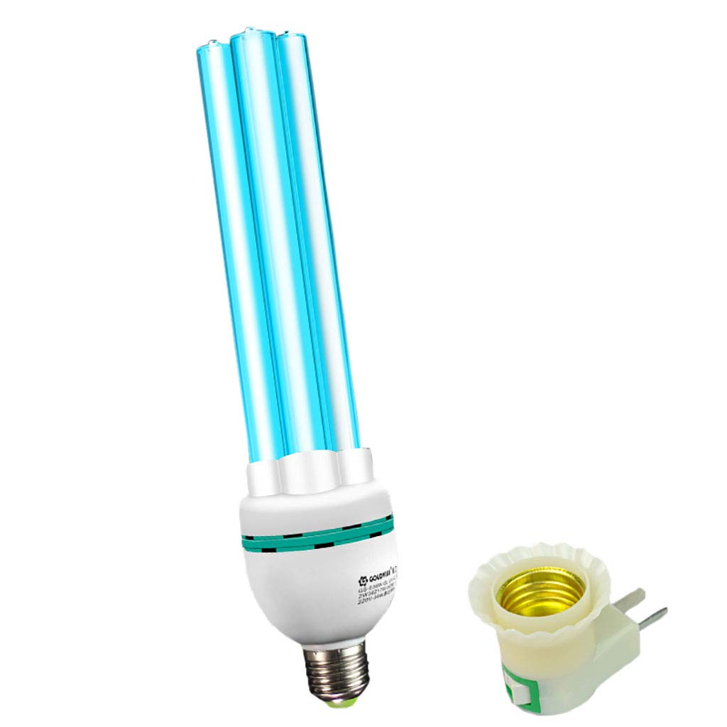UV Ozone Sterilization Lamp E27 Lamp Base Anti-Bacterial Rate 99% Ultraviolet Disinfection Germicidal Lights Household Air Purifier (Color : E27 lamp Holder+Ozone, Size : 31-40W)