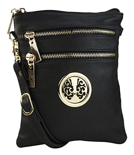Crossbody Bag Crossbody Purse Crossbody Bag for Women Trios Purse By MKF Collection Purse Crossbody Bag, Black, Medium - Designer Small Diaper Bags