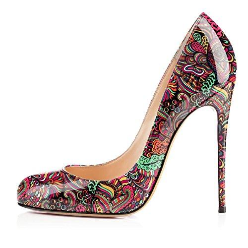 Heels Rosa Scarpe Soireelady Fiore 12CM Classico da Davanti Tacco donna col High Scarpe Chiuse wTXCqxXOr